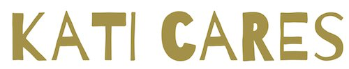 Logo des Senioren-Blogs kati cares Logo in goldener Schrift