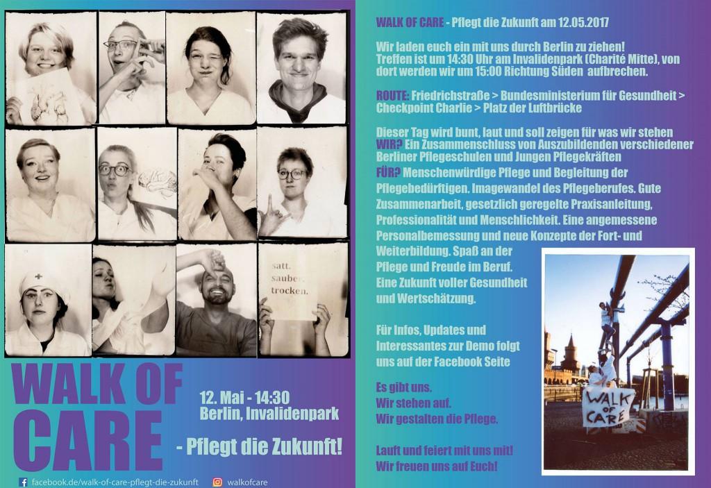Flyer zum Walk of Care: Auf nach Berlin! Am Freitag (12.5.2017) wird demonstriert