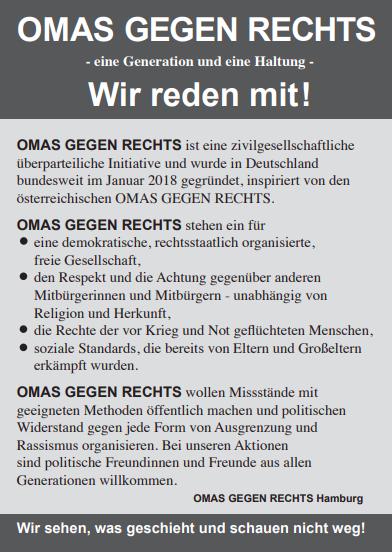 Flyer mit den Grundsätzen der Omas gegen Rechts Hamburg (Quelle: Omas gegen Rechts Nord)